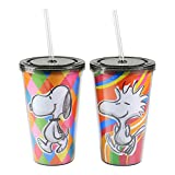 Set of 2 - Double Wall Cold Plastic Kids Tumbler w/ Screw Top Lid and Straw, 16 oz. Cup (4 Assorted Designs)
