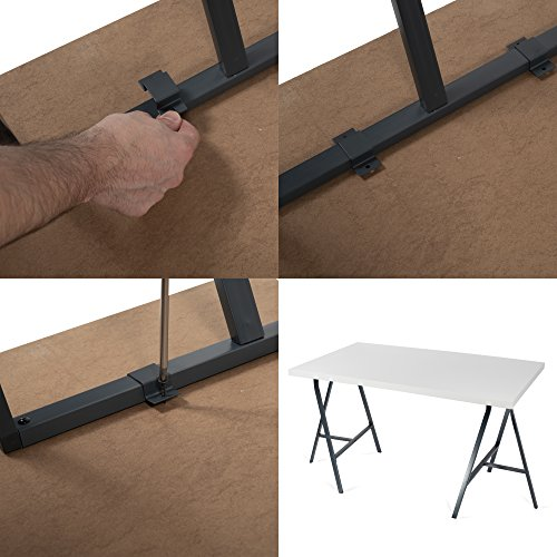 Set of 2 Industrial Look Durable Steel Crosscut Trestle Legs for Table , Desk or Workstation , Dark Gray by BHG (Image #4)