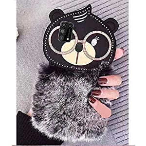 KC Big Spectacles Fur Bear Soft Bumper Silicone Back Cover for Samsung Galaxy M31 (Black)