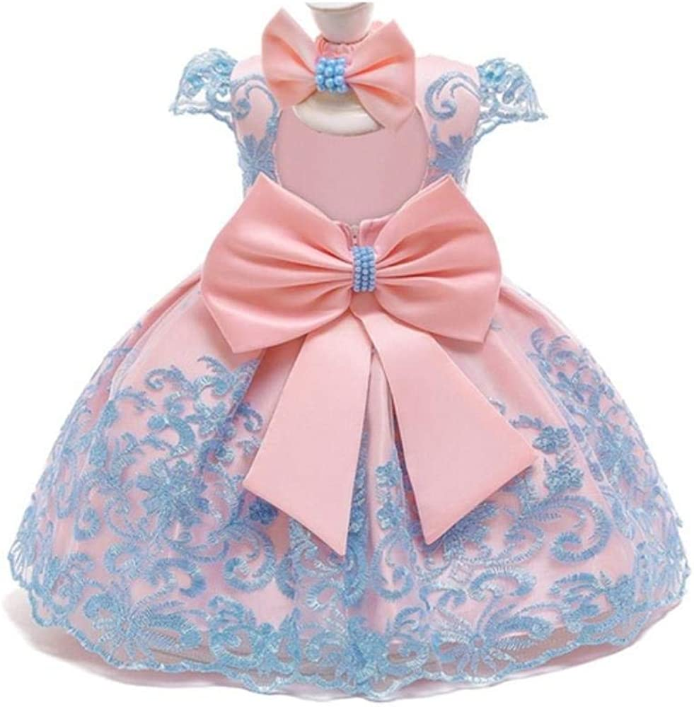 Shemiles Baby Girl 1 Year Birthday Dress Infant Party Dresses Cute Bow Dress Lace Christening Gown Toddler Girls Clothes with Headband,Light Blue,12M