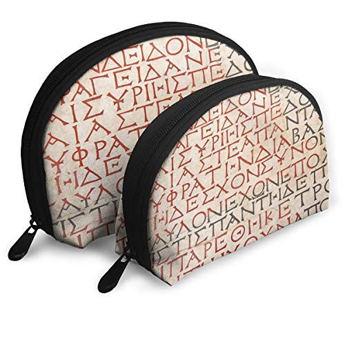 Shell Shape Makeup Bag Set Portable Purse Travel Cosmetic Pouch,Antique Latin Culture Alphabet Writing Carved On The Tombstone Print,Women Toiletry Clutch