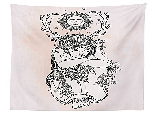 vipsung Occult Decor Tablecloth Illustration of Single Naked Girl under Sun Sublime Fairy of Nature Cosmos Nymph Deity Rectangular Table Cover for Dining Room Kitchen Pink Black