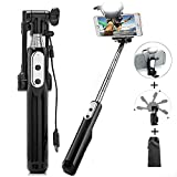 Selfie Stick, Wireless, Bluetooth, Extendable LED 360° Fill Light Rear Mirror Monopod with Adjustable Head for iPhone 8/8P/7/7P/6S, Galaxy S7/S8,LG G5,Moto X/G and Most Mobile Phones-Black