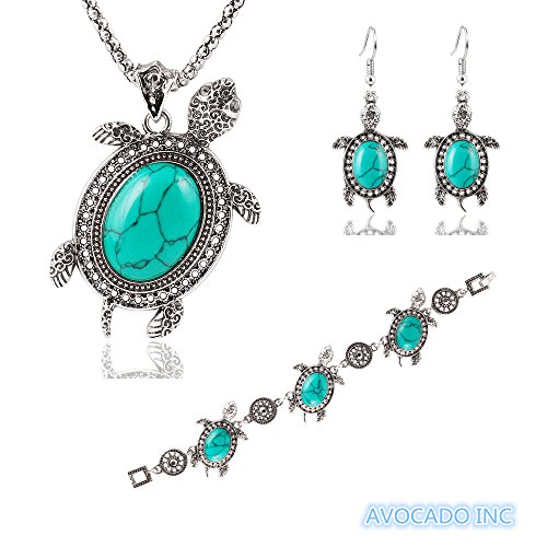 avocado-womens-turquise-embedded-tortoise-pendant-necklace-earrings-bracelet-jewelry-set-tibetan-sil