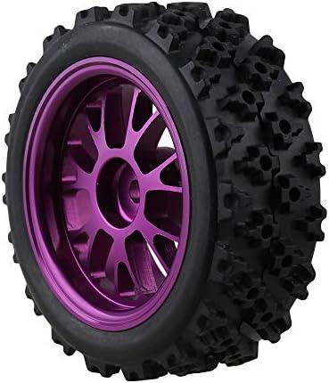 MxfansブラックフラワーパターンRubber Tyres +パープルy-shapeアルミ合金ホイールリムfor RC 1: 10オンロードレーシング車のセット4
