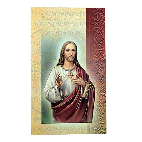 (William J. Hirten Deluxe Catholic Holy Card with Traditional Prayers (Sacred Heart of Jesus))