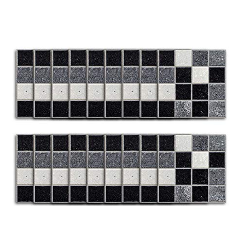 (LEYIJU 36pcs Black White Silver Mosaic Tile Stickers,Transfers Stick on Wall Tile Peel and Stick for Bathroom Kitchen,(3.94 Inch X 3.94inch) 2 Sets,10cm×10cm)