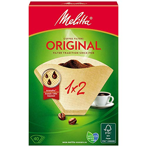 Melitta 502001 Filtros de Cafe Desechables, Papel, Natural