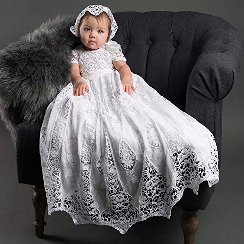 0297d9211269 Amazon.com  Grace White Baby Girl Lace Baptism and Christening gown ...