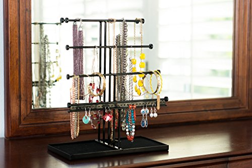 Castlencia Black Velvet Tray Extra Large 5 Tier Tabletop Bracelet, Necklace, Earring Display Jewelry Tree – Jewelry Organizer Holder - Perfect Gift by Castlencia (Image #5)
