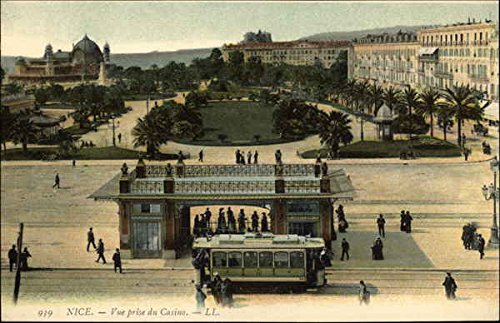 View of Casino and Trolley Stop Nice, France Original Vintage Postcard