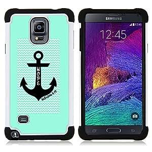 - hope anchor waves green chevron pattern - - Doble capa caja de la armadura Defender FOR Samsung Galaxy Note 4 SM-N910 N910 RetroCandy
