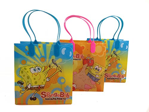 (12ct) Disney Nickelodeon Marvel Birthday Goody Gift Loot Favor Bags Party Supplies (SpongeBob Squarepants)