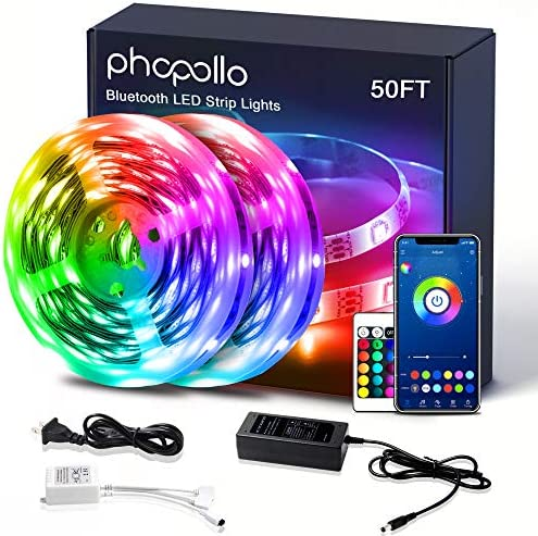 Led Lights Bluetooth Color Changing RGB Lighting 50ft Led Strip Lights Sync to Music with App Controller