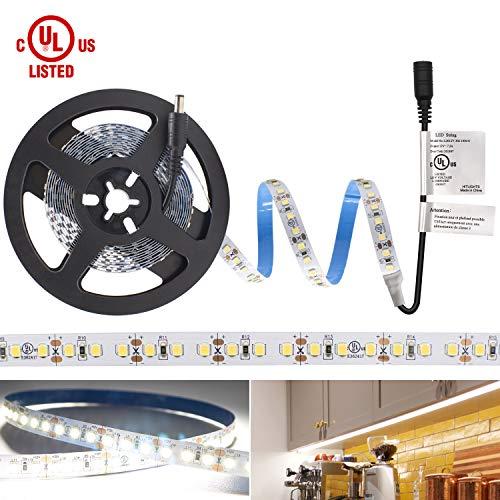 Listed, HitLights Cool White 2835 LED Light Strip - 5000K, 360 LEDs, 10 Feet- 828 Lumens/Foot, 5.6 Watt per Foot - 12V DC Tape Light ()
