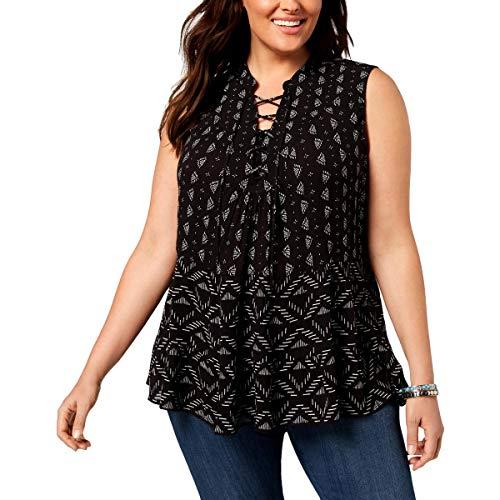 (Style & Co. Womens Plus Printed Sleeveless Blouse Black 3X)