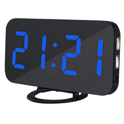 Shuangklei Caliente Multifunción Led Espejo Reloj Despertador Reloj Digital Snooze Pantalla Tiempo Noche Led Mesa De