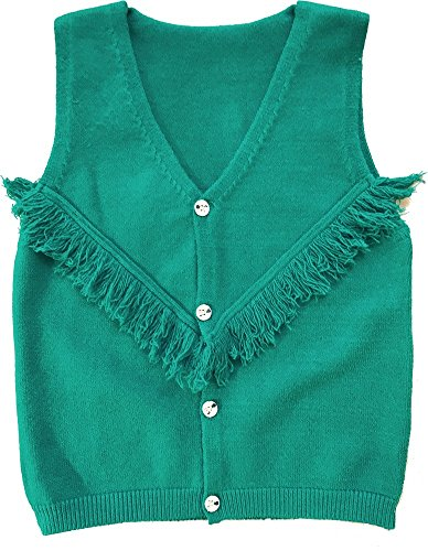 Jingle Bongala Baby Toddler Little Girls Sleeveless Knit Cardigan Sweater Vest Fringe (#8 (4T), Emerald) by Jingle Bongala