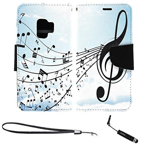 Wcf Case - Galaxy S9 G960 Wallet Case, Stylish Premium PU Leather Flip Pouch Wallet Folio Case by URAKKI for Samsung Galaxy S9 G960 (2018) 5.8-inch [Music Sky] Case