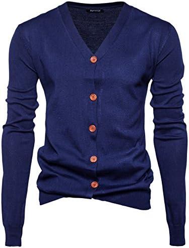 カーディガン メンズ ニット 長袖 無地 細身 コットンニット 綿 秋 ビジネス カジュアル 8色 大きいサイズ
