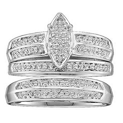 DazzlingRock Collection 0.25 Carat (ctw) 14K White Gold Round Diamond Men & Women's Engagement Ring Trio Set 1/4 (0.25 Ct Diamond Trio)