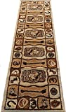 Runner Cream Brown Cowboy Buckle Boot Hat Horseshoe 2x8 Area Rug Actual Size 2' x 7'2