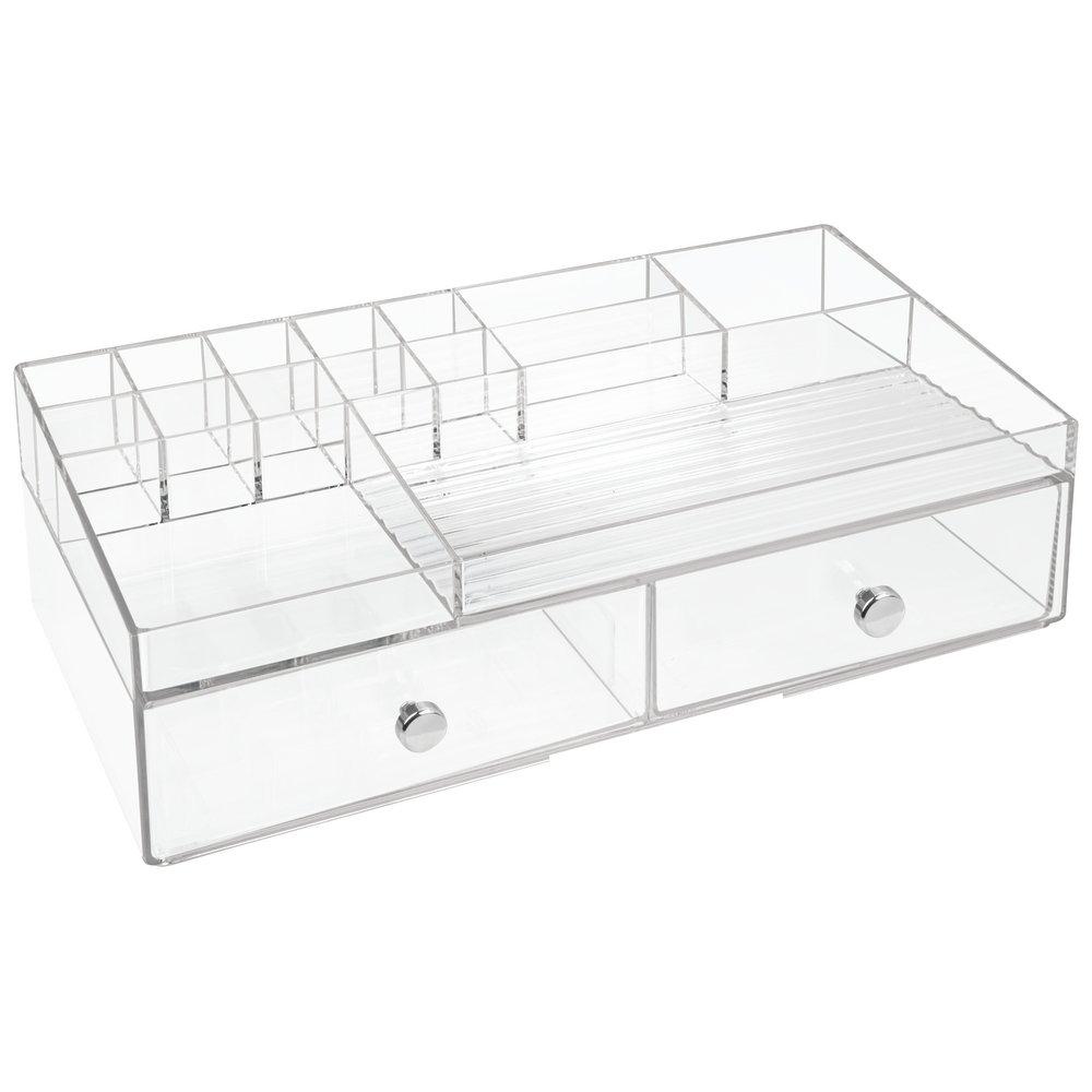 InterDesign Drawers Caja con compartimentos | Caja de maquillaje con 2 cajones y 15 compartimentos | Organizador de maquillaje o artículos de oficina | Plástico blanco 37411