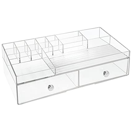 e92e32b07dbd InterDesign 2 Drawer Cosmetic Organizer for Vanity Cabinet to Hold Makeup,  Beauty Products - Clear