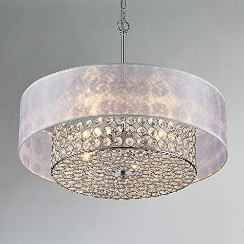 Saint Mossi Chrome K9 Crystal Raindrop Chandelier Lighting Flush Mount LED Ceiling Light Fixture Pendant Lamp for Dining Room Bathroom Bedroom Livingroom 4 G9 Bulbs Required H6 W20
