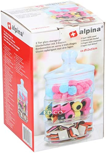 Alpina Stackable Glass Jars 3-Tier Glass Storage Jars Sweets Candy Biscuits Cookies Cakes Storage Dishes Canisters Holders