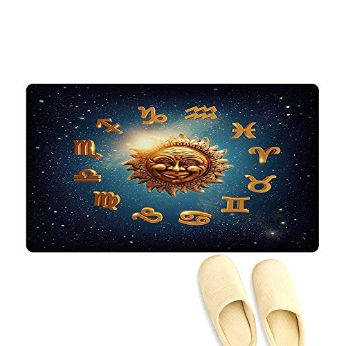 (Bath Mat,Ancient Signs Surrounds a Moon Sun in Space with Stardust Nebula,Doormats for Inside Non Slip Backing,Orange Blue and Dark Blue,20