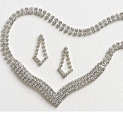 298e42cec29c7 Amazon.com: LJ Designs Luxury Diamante V Earring & Necklace Set ...