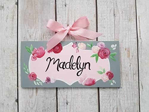 Cartel Personalizado con Nombre de Flores, Color Rosa y Gris ...