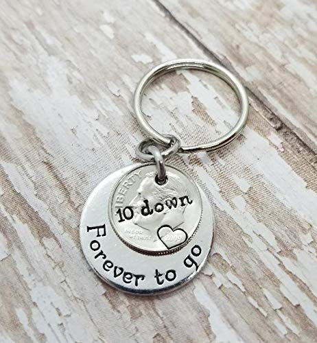 10 Down and Forever To Go on a 2009 Silver Dime 10th Anniversary Key Chain Gift ()