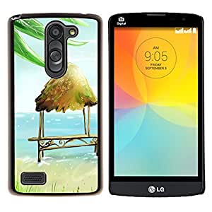 LECELL--Funda protectora / Cubierta / Piel For LG L Bello L Prime -- Caseta de playa Silla Banco Art Blue Sea Verano --