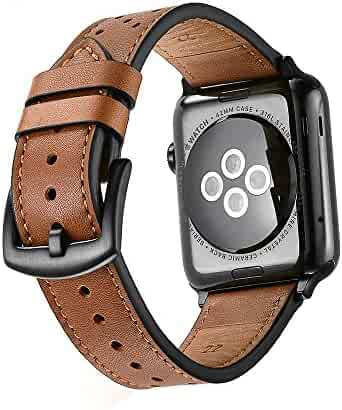 Mifa - Apple Watch band Leather 42mm Bands iwatch series 1 2 3 Replacement strap dressy classic buckle vintage case Band with Black Stainless Steel Adapters (42mm, Brown)
