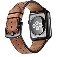 Apple Watch band Leather Bands Replacement strap for series 1 2 3 dressy classic buckle iwatch Band (42mm, Brown)