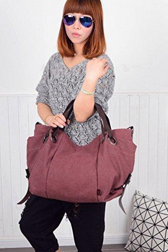 Shoulder Tote Large Womens ZKOO Capacity Canvas Shopper Bags Handbags Bag Purple Travel Hobo Bw15vvUqx