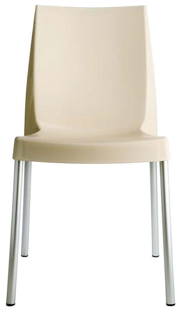 GRAND SOLEIL Grandsoleil upon Boulevard standard sedia impilabile con gambe in alluminio, in polipropilene, avorio, 52x 44x 85cm Grandsoleil_S3340AV