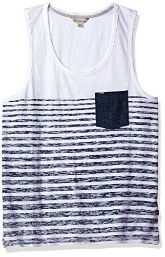 Calvin Klein Jeans Men's Denim Pocket Stripe Tank Top, White, - Designers Mens Top