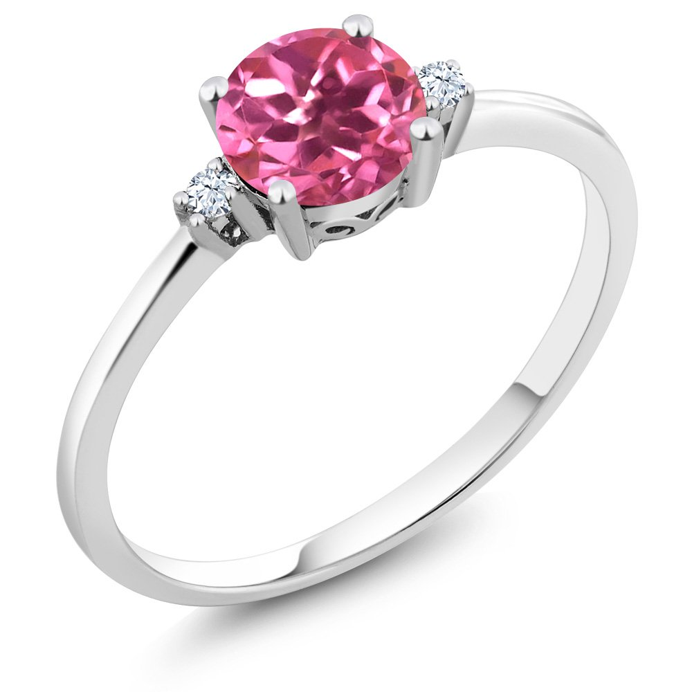 10K White Gold Engagement Solitaire Ring set with 1.03 Ct Round Pink Mystic Topaz and White Created Sapphire