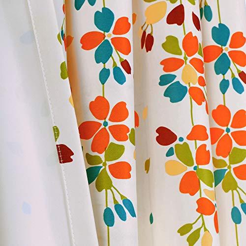 "Lush Decor Weeping Flowers Room Darkening Window Panel Curtain Set (Pair), 84"" x 52"", Turquoise and Tangerine 5"