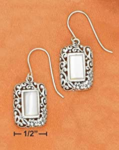 Sterling Silver 6X10mm Mother Of Pearl Rectangles with Fancy Filigree Border Fw Ears