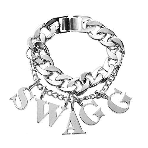 Alloy Letters Charm SWAGG Bracelet Punk Heavy Link Chain Costume Jewelry (Swagg-silver) (Holiday Theme Party Costume)