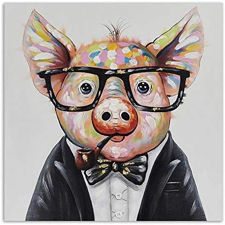 Llxhg現代のポスタープリントキャンバス絵画抽象豚写真リビングルームホーム装飾現代壁アート漫画豚キッズルーム-50×50センチなしフレーム