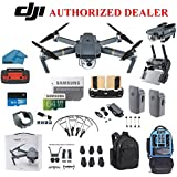 DJI Mavic Pro Drone Quadcopter 4K Professional Camera Gimbal Bundle Kit with 2 Batteries, 64GB SD Card + 3.0 Card Reader, Landing Gear, Prop Guards and Must Have Accessories with Backpack