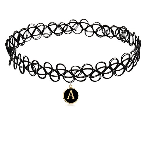 Cozylife 26 Letter Pendant Black Stretch Choker for Girls KidsWomen Gothic Tattoo Henna Magic Necklaces Best Gifts