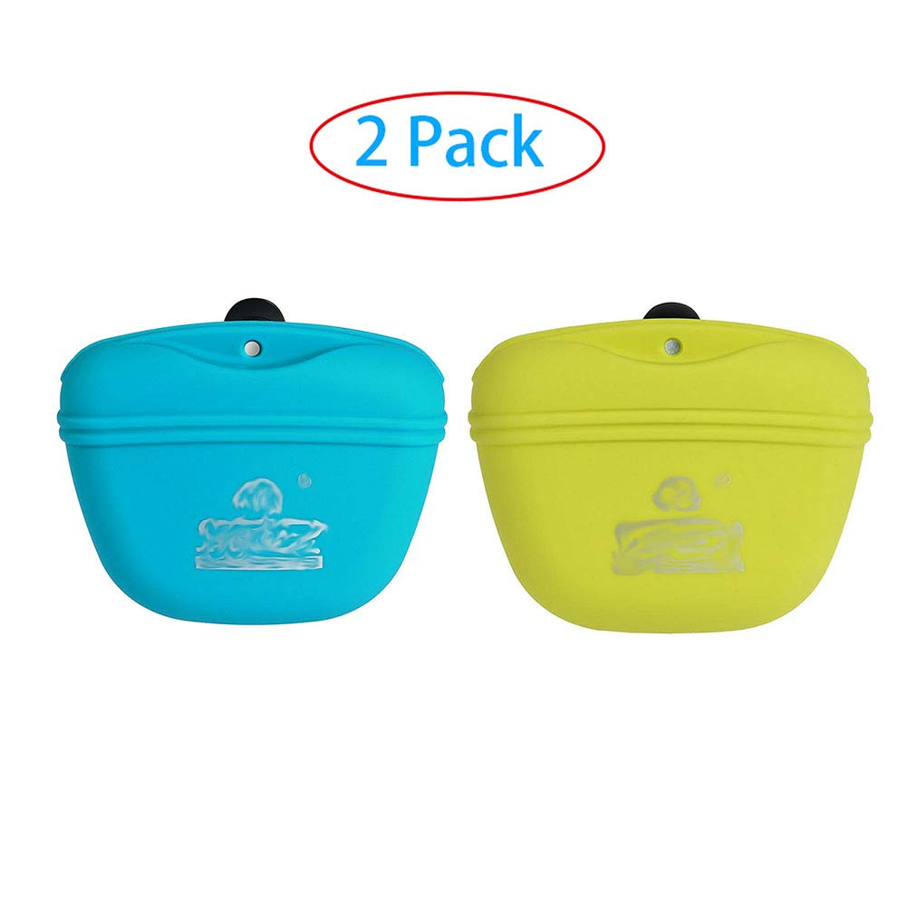Guhih Dog Training Food Bag, Silicone Dog Training Bag Portable Dog Treat Bags with Magnetic, Closing and Waist Clip -2 Pack