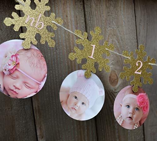 Soccerene First Birthday Banner Snowflake First Year Picture Banner Snowflake 1st Year Photo Banner