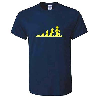 4bfa9bb35 Mens Building Bricks Evolution TShirt - Navy Classic Tee: Amazon.co.uk:  Clothing